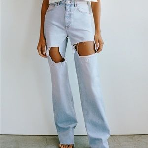 Zara High waisted wide leg jeans in light blue